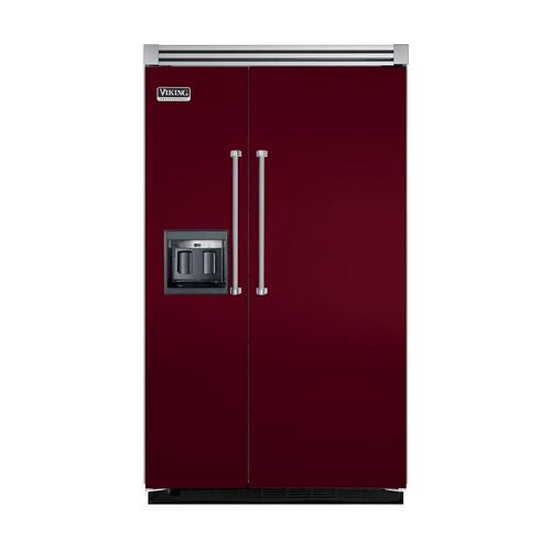 "Viking - Burgundy 48"" Side-by-Side Refrigerator/Freezer with Dispenser - VISB (Integrated Installation)"