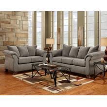 Aruca Sensations Grey Microfiber Pillow Back Sofa and Loveseat Set