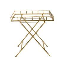 Rectangular Gold Metal Accenttable, Mirror Top