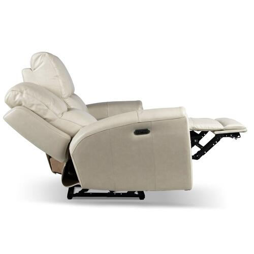 Laurel Leather Dual-Power Reclining Sofa, Ivory