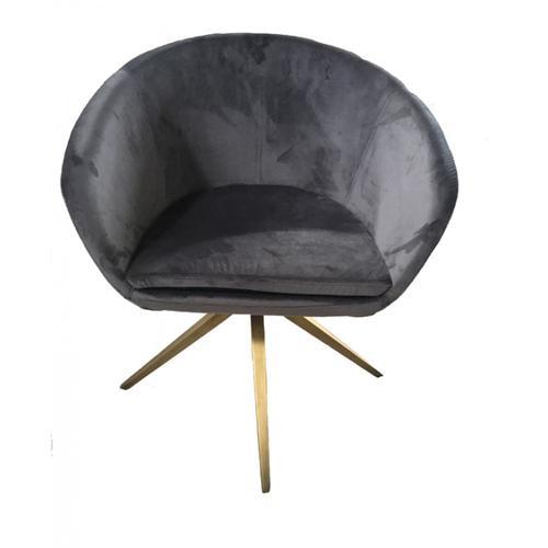 Modrest Yara Modern Grey Velvet & Bronze Dining Chair