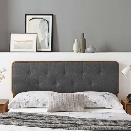Collins Tufted Full Fabric and Wood Headboard in Walnut Charcoal