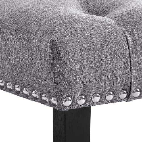 Accentrics Home - Grey Diamond Button Tufted Upholstered Bed Bench