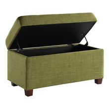 Fabric Storage Ottoman In Green