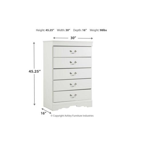 Anarasia Five Drawer Chest White