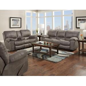 Trent Reclining Sofa in Charcoal Sueded Polyester Fabric