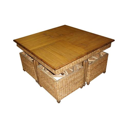 Hassock Table, Available in Antique Palm or Banana Finish.