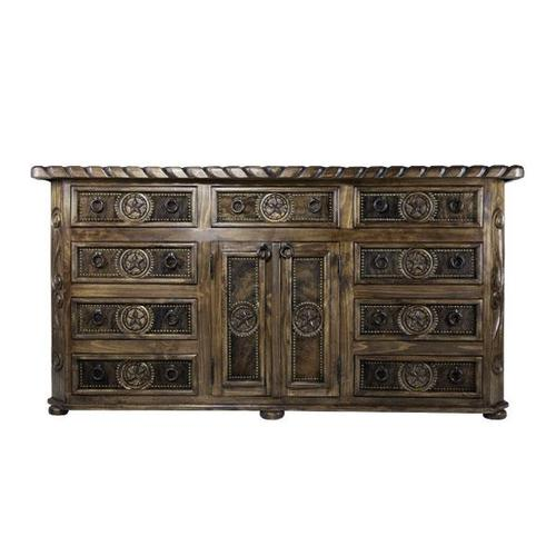 """L.M.T. Rustic and Western Imports - 84"""" Large Cowhide Dresser"""