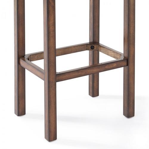 "Armen Living Tudor 30"" Bar Height Wood Backless Barstool in Chestnut Finish and Kahlua Pu"