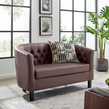 See Details - Prospect Upholstered Vinyl Loveseat in Brown