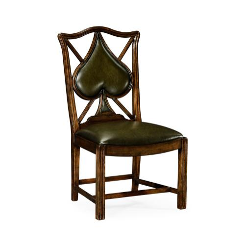 """Playing card """"Spade"""" side chair with medium English library green leather"""