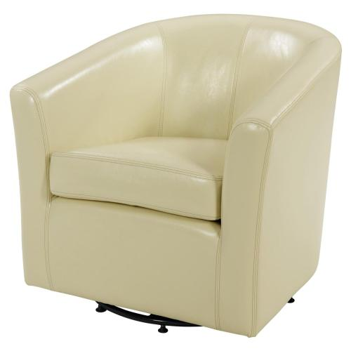Hayden SWIVEL Bonded Leather Accent Arm Chair, Beige