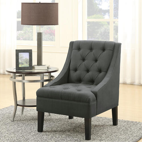 Scoop Arm Button Tufted Accent Chair in Twilight Grey