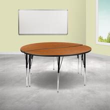 """See Details - 2 Piece 60"""" Circle Wave Flexible Oak Thermal Laminate Activity Table Set - Standard Height Adjustable Legs"""