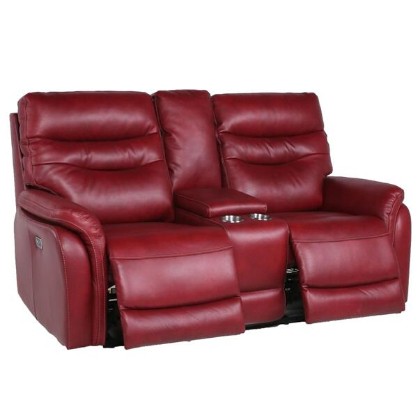 Fortuna Dual-Power Reclining Console Loveseat, Wine