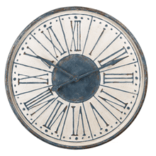 Distressed Blue & Ivory Wall Clock