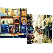 See Details - 4-Panel Double Sided Canvas Room Divider Screen - Street