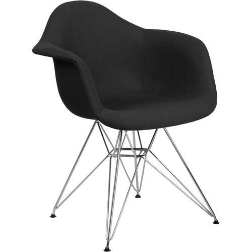 Alonza Series Genoa Black Fabric Chair with Chrome Base