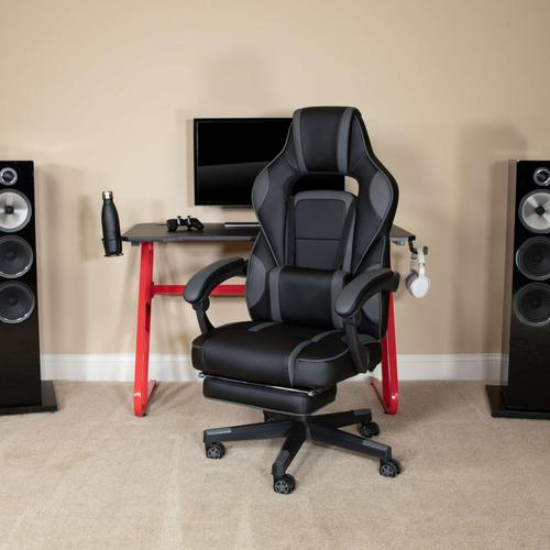 Gallery - Red Gaming Desk with Cup Holder\/Headphone Hook & Black Reclining Back\/Arms Gaming Chair with Footrest