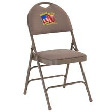 Embroidered HERCULES Series Ultra-Premium Triple Braced Beige Fabric Metal Folding Chair with Easy-Carry Handle
