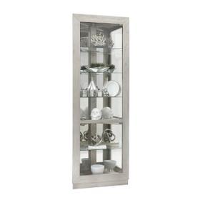 Asymmetrical Two Door Corner Curio Cabinet in Soft gray