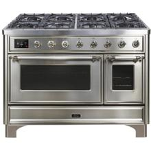 Majestic II 48 Inch Dual Fuel Liquid Propane Freestanding Range in Stainless Steel with Chrome Trim