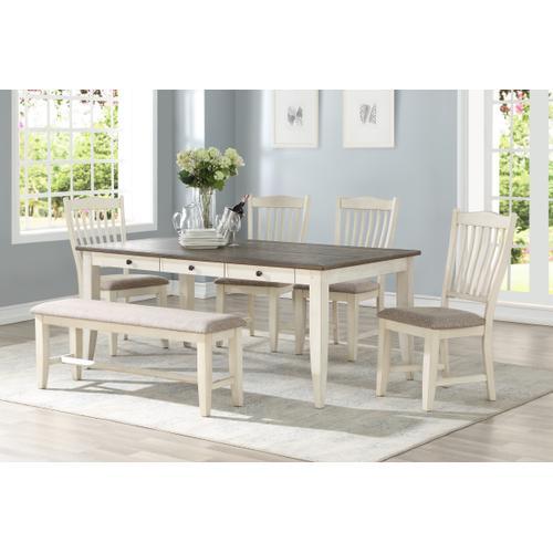 Buchanan 6-drawer Dining Table, Whitewash 1147-4072l