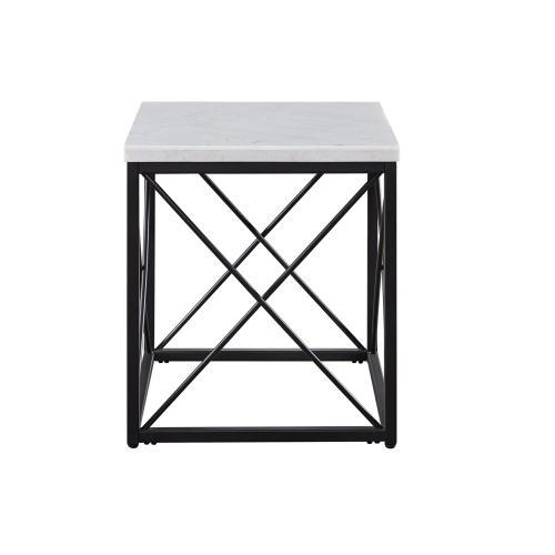 Steve Silver Co. - Skyler White Marble Top Square End Table Black 22x22x24