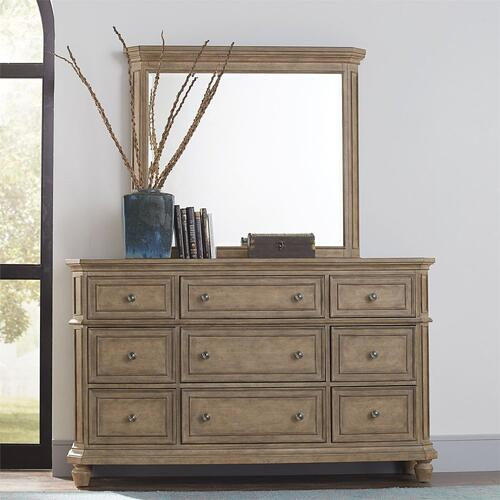 King Panel Bed, Dresser & Mirror, N/S