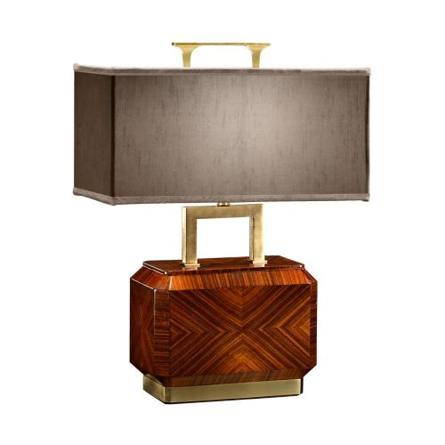 Tea caddy table lamp with brass