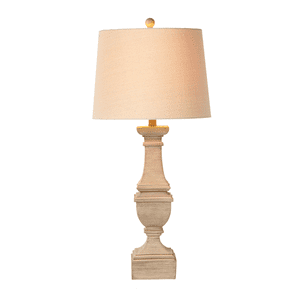 Distressed Taupe Carved Pillar Table Lamp with Bulb. 150W Max. 3 Way Switch. (168492)