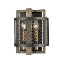Woodbridge 2-Light Sconce in Weathered Oak and Aged Brass with Matte Black Metal Mesh