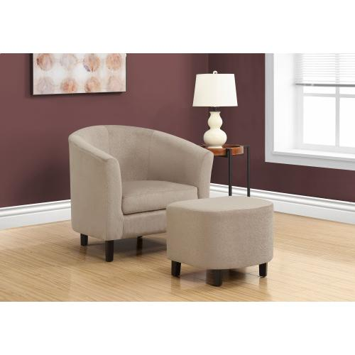 Gallery - ACCENT CHAIR - 2PCS SET / TAUPE FLORAL VELVET