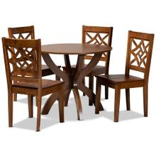 See Details - Baxton Studio Anila Modern and Contemporary Walnut Brown Finished Wood 5-Piece Dining Set