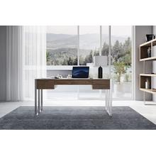 Modrest Orcutt - Modern Walnut & Stainless Steel Desk