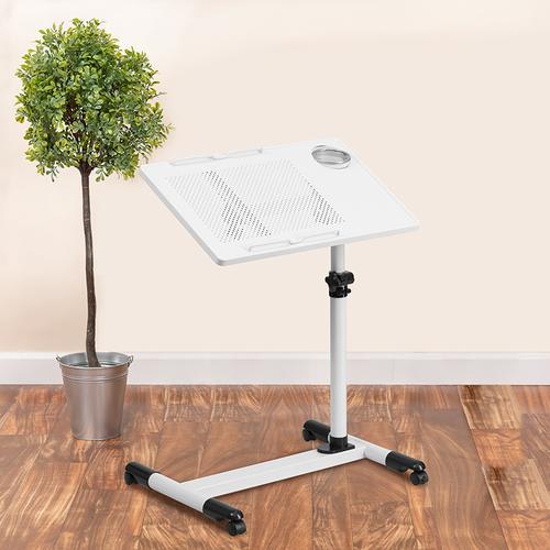Flash Furniture - White Adjustable Height Steel Mobile Computer Desk