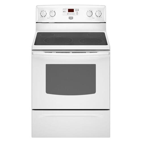 REFURBISHED White Electric Range with EvenAir Convection. This is a Stock Photo, actual unit (s) appearance may contain cosmetic blemishes.  Please call store if you would like actual pictures).  This unit carries our 6 month warranty, MANUFACTURER WARRANTY and REBATE NOT VALID with this item. ISI42157