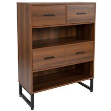 "Lincoln Collection 2 Shelf 41.25""H Display Bookcase with Four Drawers in Rustic Wood Grain Finish"