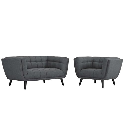 Bestow 2 Piece Upholstered Fabric Loveseat and Armchair Set in Gray