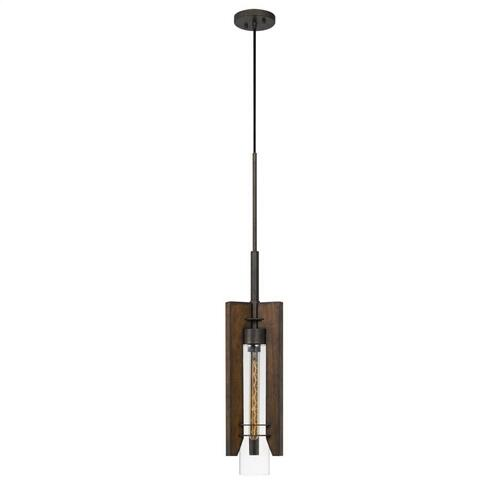60W Almeria Wood/Glass Pendant Fixture (Edison Bulb Not included)