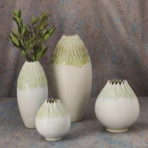 Cut Carved Vase-Sage-Med