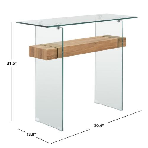 Safavieh - Kayley Console Table - Glass / Natural Brown