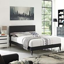 View Product - Macie Full Vinyl Platform Bed with Squared Tapered Legs in Black