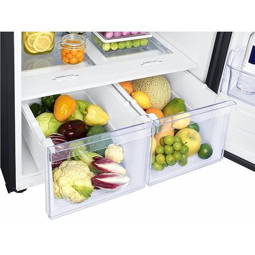 Samsung - 18 cu. ft. Top Freezer Refrigerator with FlexZone™ in Black Stainless Steel
