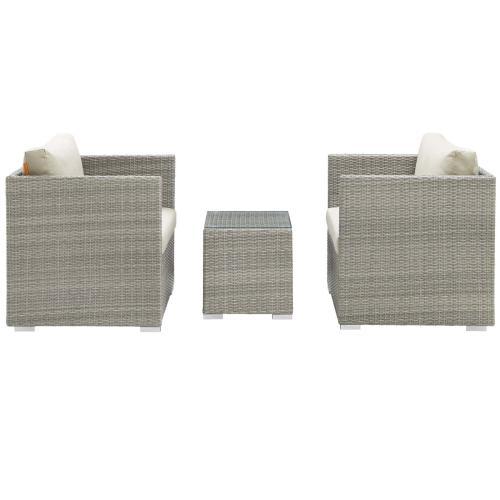 Repose 3 Piece Outdoor Patio Sunbrella® Sectional Set in Light Gray Beige