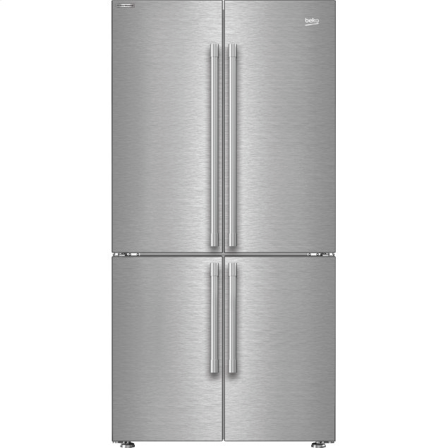 """Beko 36"""" French Four-Door Stainless Steel Refrigerator with auto Ice Maker, Water Dispenser"""