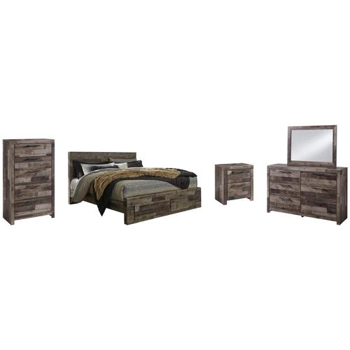 Product Image - King Panel Bed With 2 Storage Drawers With Mirrored Dresser, Chest and Nightstand