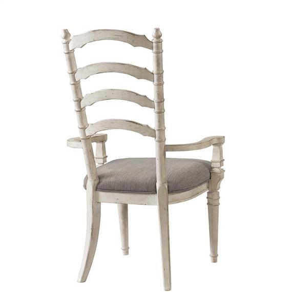 Riverside - Upholstered Ladderback Arm Chair - Smokey White Finish
