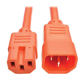 Power Cord C14 to C15 - Heavy Duty, 15A, 250V, 14 AWG, 2 ft., Orange