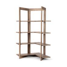 Turnbull I 57L x 35W x 72H Light Brown Wood Four Shelf Corner Shelving Unit